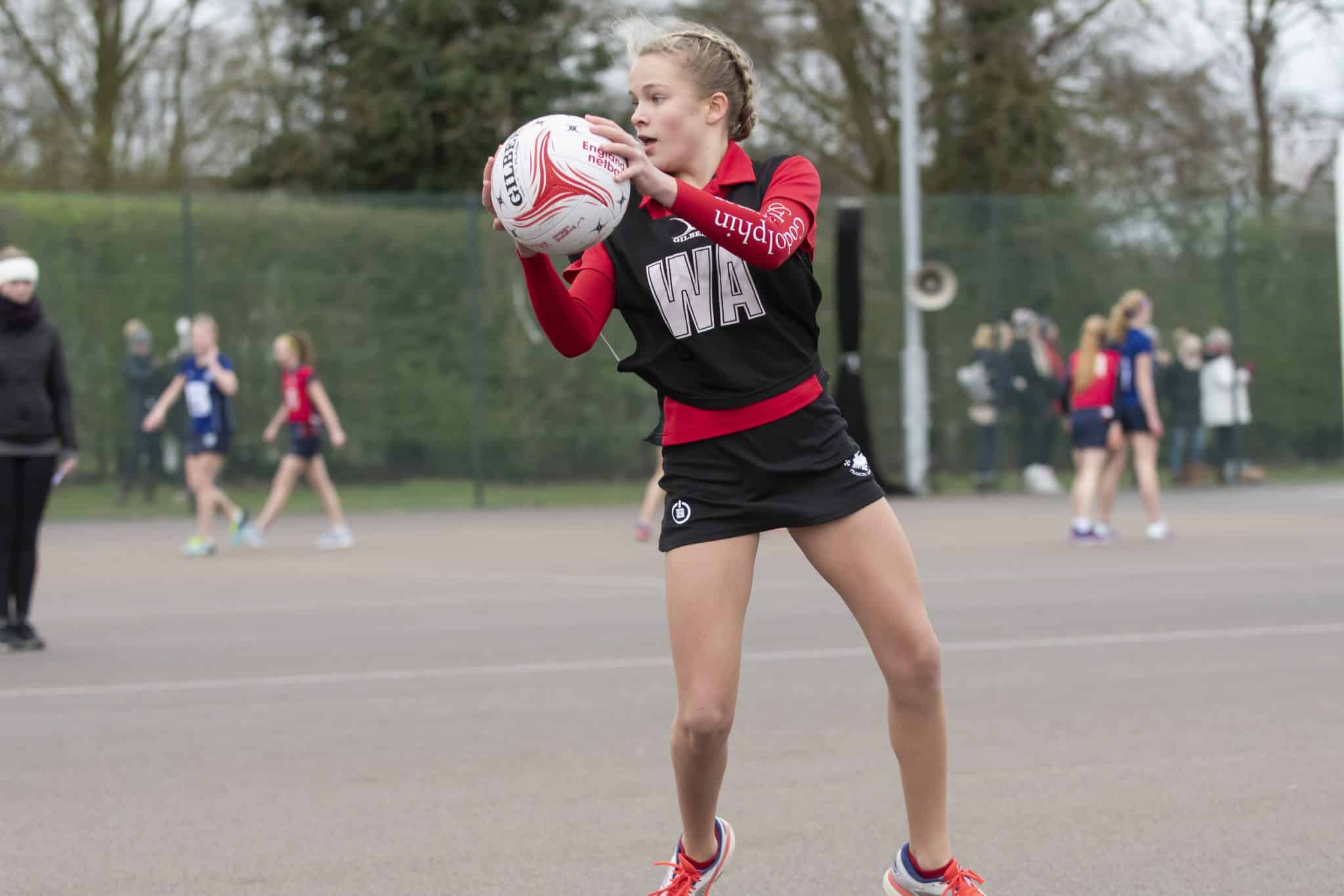 Godolphin & Latymer's U14 & U16 Netball squad at the National Sc